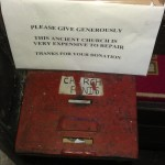 Collection box inside All Saint's Church, Buncton, West Sussex