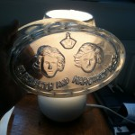 Glass jelly mould with Princess Elizabeth and Princess Margaret Rose