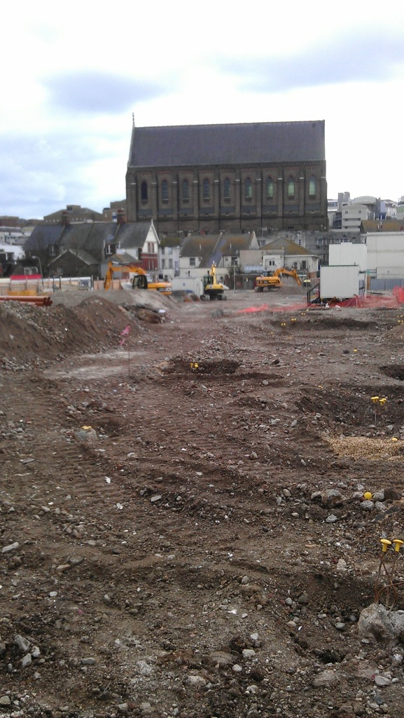 Brighton open market demolition with St Bartholomew's Church
